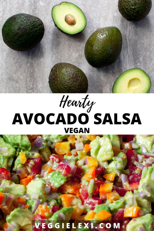 Delicious and hearty avocado salsa is perfect when you're craving a more substantial version of guacamole!  Made with avocado, shallot, bell pepper, and tomato, it's sure to win you over.  - by Veggie Lexi
