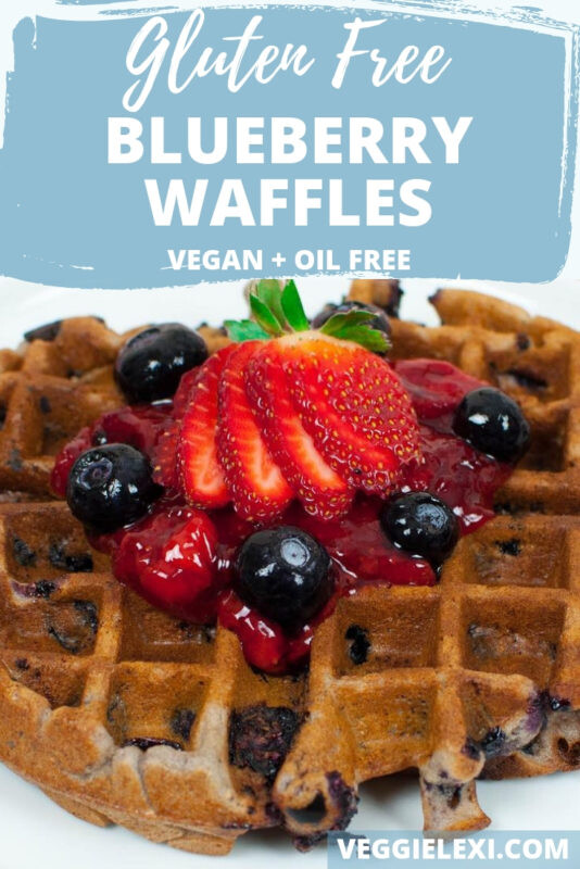Delicious vegan, gluten free, and oil free blueberry waffles make the perfect weekend brunch! - by Veggie Lexi