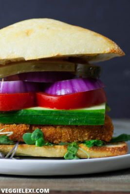 "Breaded tofu makes the perfect healthy vegan ""chicken""! Gluten free and oil free, too. Use on a sandwich, or as vegan ""chicken"" tenders. - by Veggie Lexi"