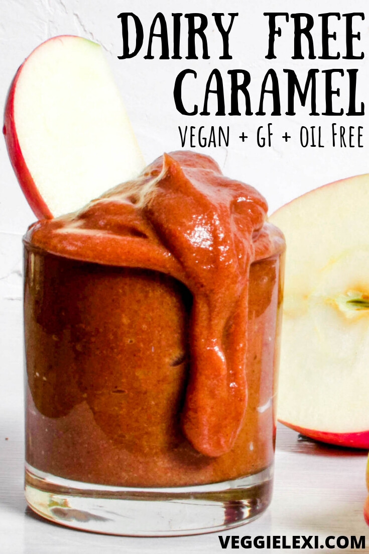 Try this healthy and easy homemade caramel sauce! It's dairy free, vegan, gluten free, oil free, and made from whole foods! Absolutely perfect for dipping, dessert, and a healthy fat free snack. #veggielexi #veganrecipes #vegansnacks #vegandesserts - by Veggie Lexi