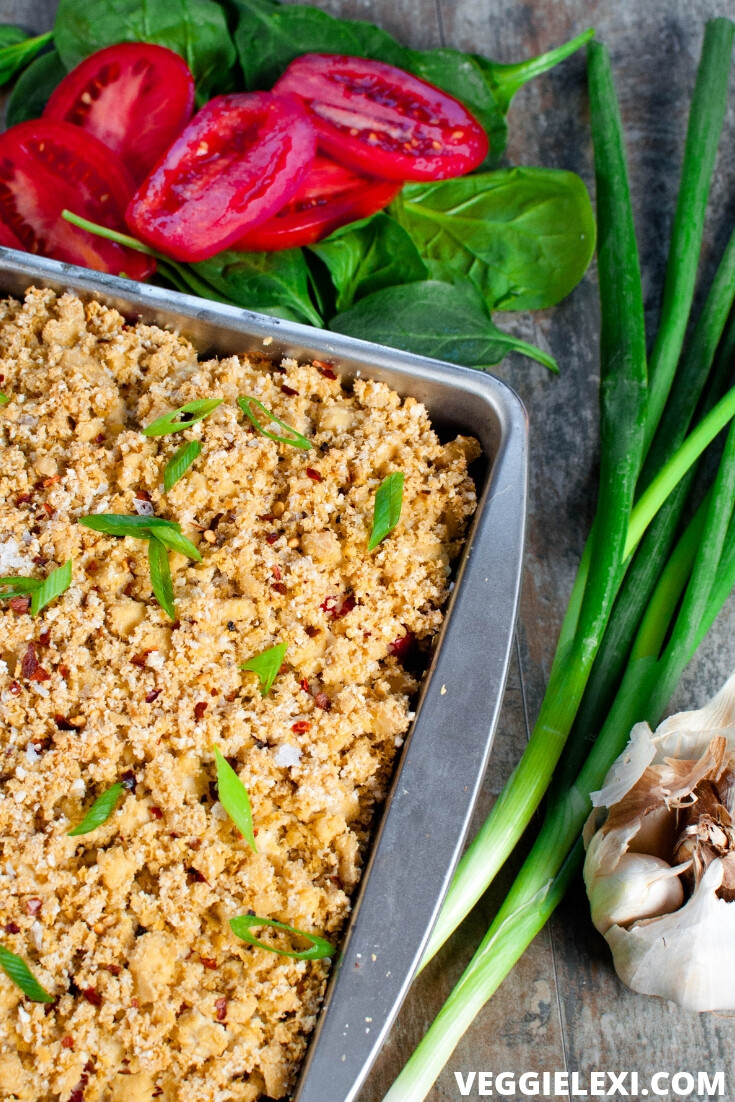Try this delicious healthy creamy casserole! It's vegan and gluten free, and is brought to the next level with a crispy cheesy tofu crumble topping. #veggielexi #casserole #veganrecipes #vegandinner #glutenfreerecipes - by Veggie Lexi