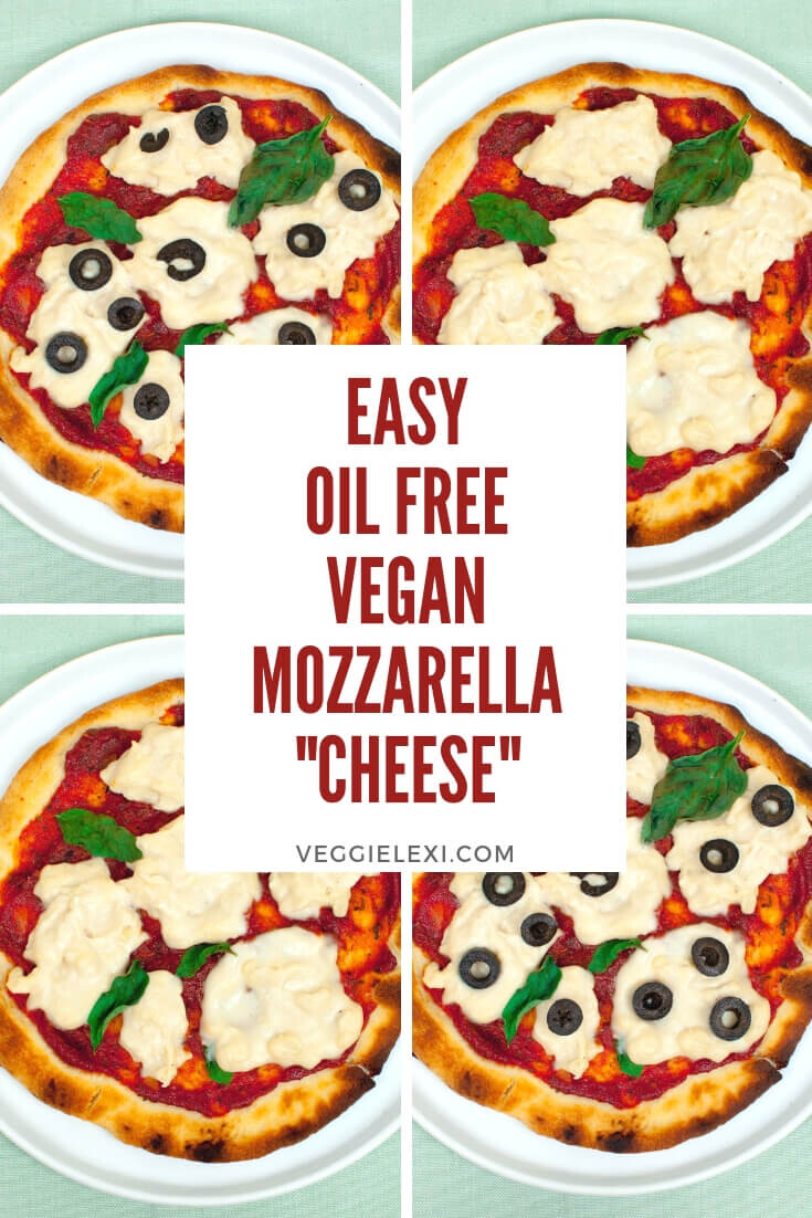 Vegan Pizza with Easy Oil Free Cashew Mozzarella and Olives