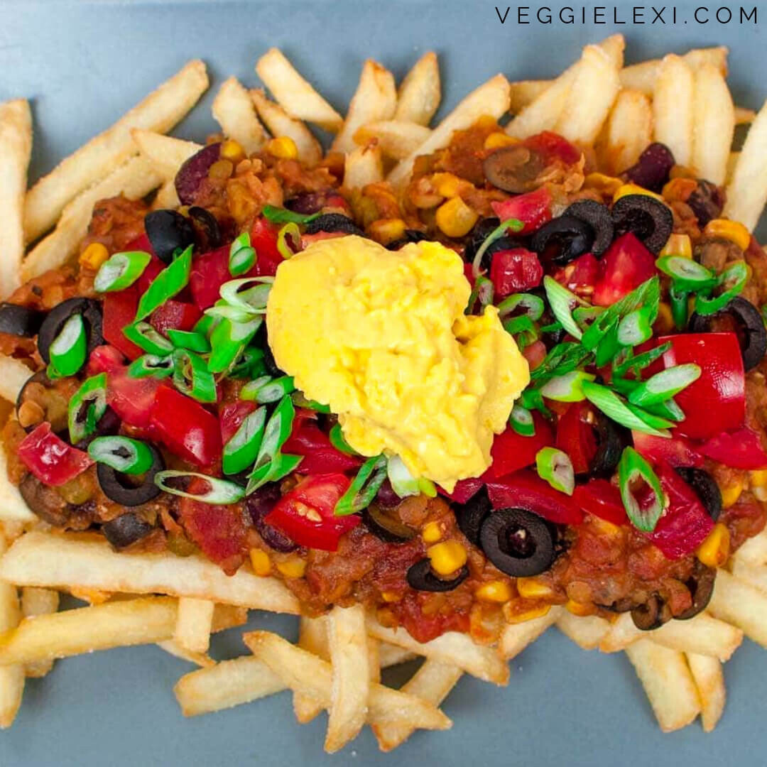 "Chili Cheese Fries with Easy Homemade Oil Free Cashew Nacho ""Cheese"""