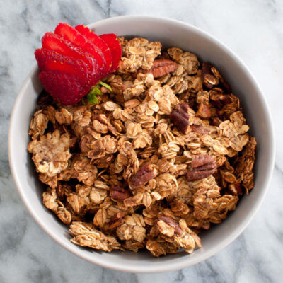 Oil Free Gluten Free Vegan Granola with Pecans and Strawberries
