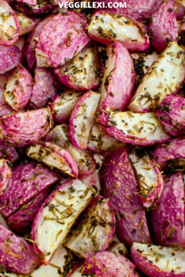 Delicious roasted radish is the perfect keto replacement for roasted potatoes. Beautiful and satisfying, this makes the perfect low carb side dish! - by Veggie Lexi