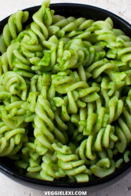 Oil Free Vegan Spinach Pesto Tossed with Rotini Pasta