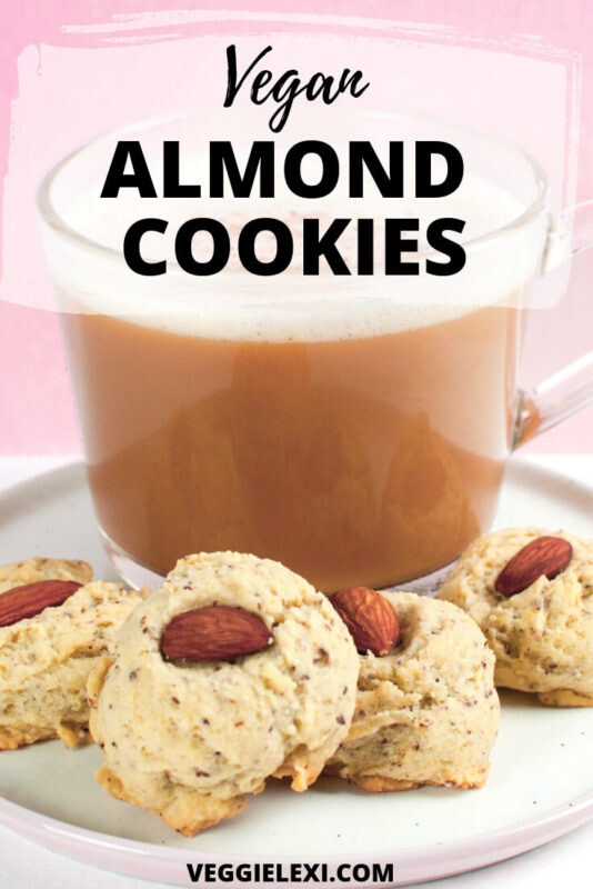 Vegan almond cookies that aren't too sweet - they're absolutely perfect!  These make the perfect cookies for dipping into coffee. #veggielexi #veganfood #vegancookies