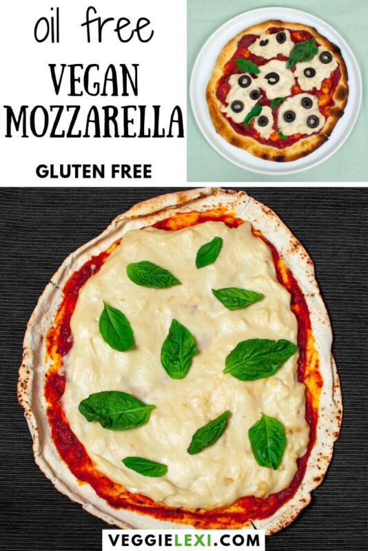 Perfect vegan cheese! This vegan mozzarella is stretchy, melty, and best of all - it's oil free, too! So delicious and satisfying. Perfect to top your pizza with. #veggielexi #vegancheese #veganrecipes #veganpizza #veganfood