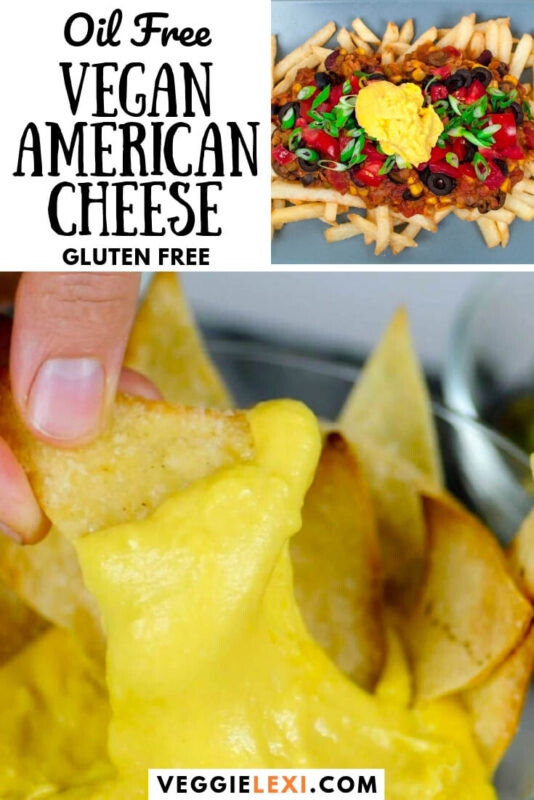 Vegan cheese that's the perfect mix between nacho cheese and American cheese in flavor. Melty, stretchy, and so delicious! Even better, it's oil free (though you'd never know it from the taste)! #veggielexi #veganrecipes #vegancheese #veganfood