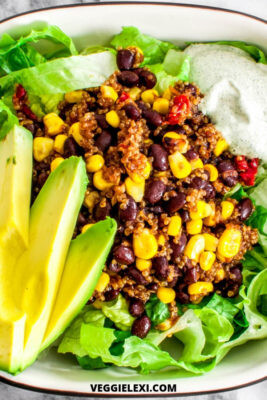 Tex-Mex Quinoa Salad with Corn, Black Beans, and Sun Dried Tomatoes. Served on Romaine Lettuce, with Avocado, and Vegan Ranch Dressing.