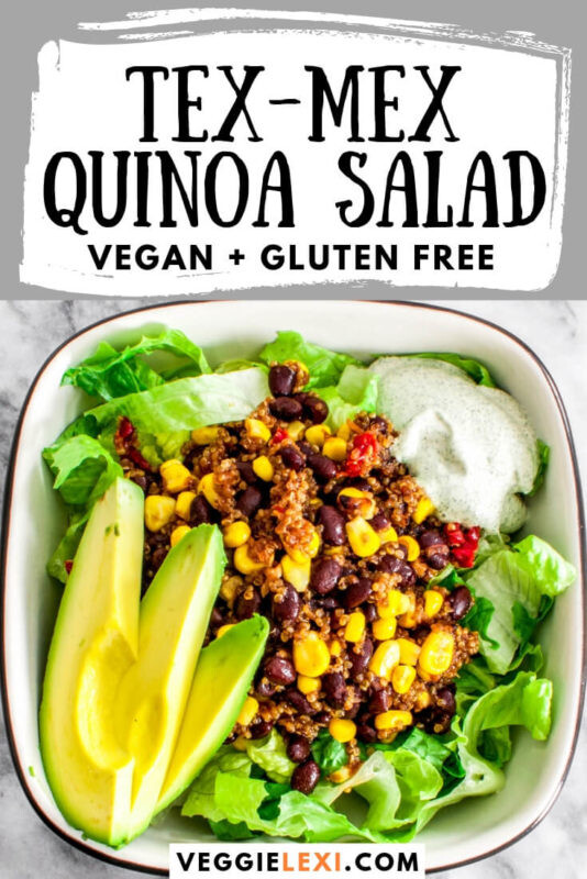 Tex-Mex quinoa salad is the perfect protein packed hearty vegan salad! Delicious and full of flavor, this meal is perfect for meal prep. Made with onion, garlic, corn, black beans, and sun dried tomatoes. #veggielexi #quinoa #quinoarecipes #quinoasalad #veganrecipes #glutenfreerecipes #glutenfreevegan