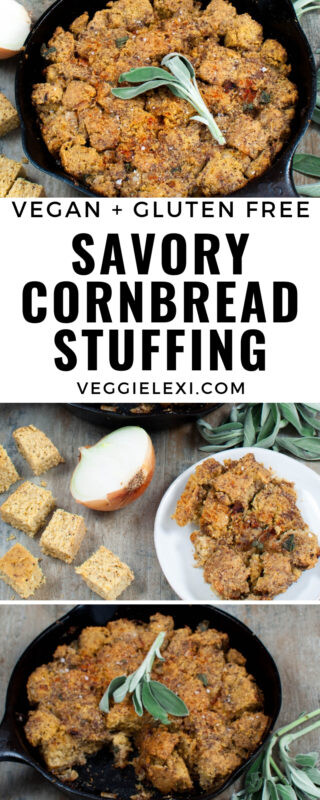 Vegan and Gluten Free Sweet and Savory Cornbread Stuffing Dressing with Caramelized Onions and Fresh Sage - by Veggie Lexi