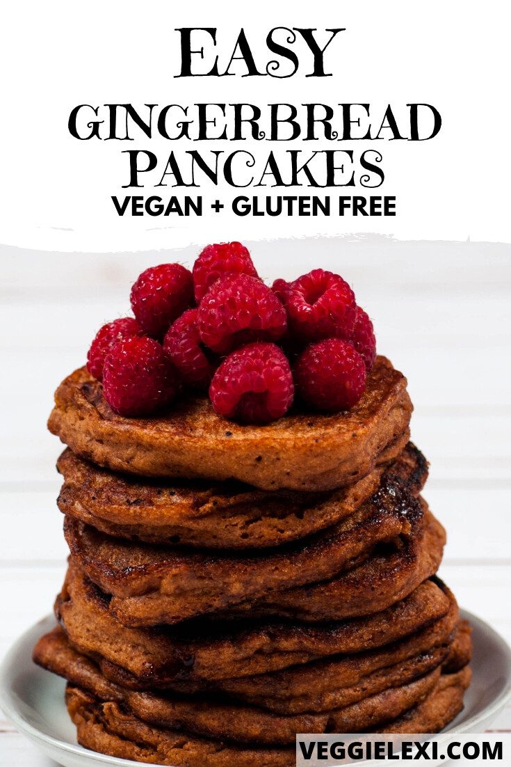 Try these easy and delicious vegan and gluten free gingerbread pancakes!  This recipe turns any pancake mix into the most delicious gingerbread pancakes.  #veggielexi #veganrecipes #gingerbread #pancakes #glutenfreerecipes