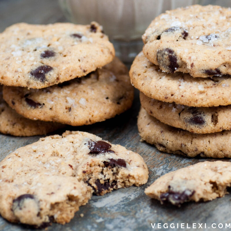 Salted Tahini Chocolate Chip Cookies that are Gluten Free and Vegan - by Veggie Lexi