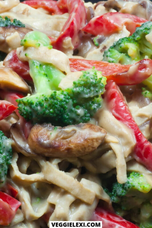 Fettuccine with healthy vegan Alfredo (oil free, nut free, and gluten free Alredo). Served with broccoli and red bell pepper.