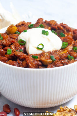 "Delicious vegan, gluten free, sugar free, and oil free chili will win you over. Completely savory with a wonderful ""meaty"" quality from the lentils and walnuts. - by Veggie Lexi"