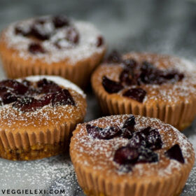Tasty mini chocolate cherry cheesecakes made with a nut and date crust. Raw, vegan, and gluten free! #veggielexi #veganrecipes #vegandesserts #glutenfreerecipes #vegancheesecake - by Veggie Lexi