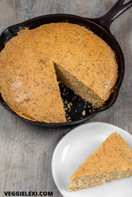 Delicious vegan and gluten free skillet cornbread! Just a little sweet and a lot savory. #veggielexi #veganrecipes #glutenfreerecipes #cornbread - by Veggie Lexi