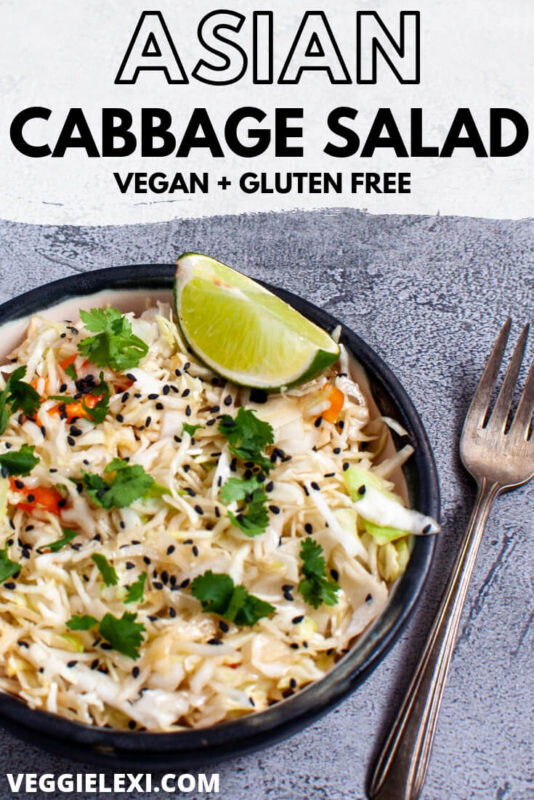 Easy Asian Sesame Cabbage Salad with Cilantro and Lime - by Veggie Lexi