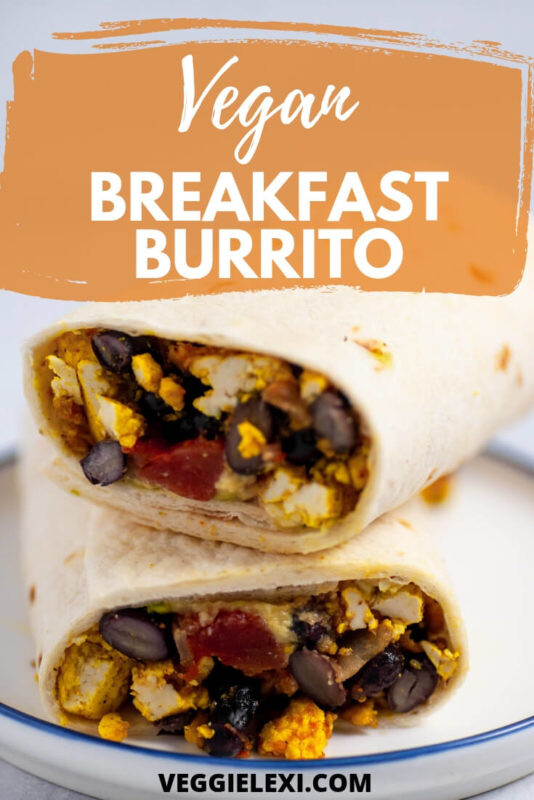 Vegan Breakfast Burrito makes the perfect easy and delicious breakfast!  Filled with beans and scrambled tofu, this vegan breakfast is sure to fill you up and takes hardly any time to prepare. #veggielexi #veganrecipes #veganbreakfast #tofu #breakfastburrito