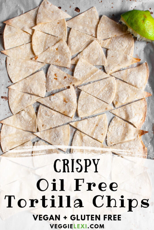 Oil free tortilla chips that are delicious and so crispy!  Flavored with salt and lime juice, these are perfect for dipping or as the base of healthy nachos. #veggielexi #chips #glutenfreefood #tortillachips #oilfree