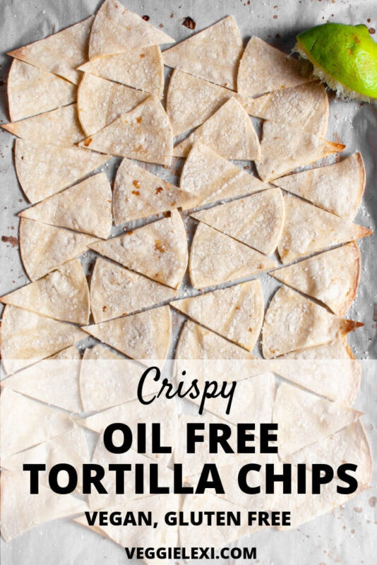 Crispy Oil Free Lime Tortilla Chips! Click Through for the Recipe, or Save to Try Later! #veggielexi #vegan #veganrecipes #glutenfree #tortillachips #oilfree