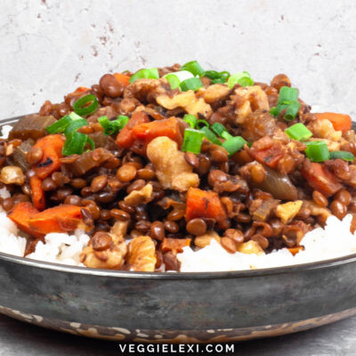 """Try topping your pasta or rice with this delicious vegan """"meaty"""" walnut and lentil sauce! The inspiration was a vegan version of a """"meaty"""" tomato pasta sauce, but without the tomatoes. For flavor I included carrots, celery, and onions - it turned out so delicious! - by Veggie Lexi"""