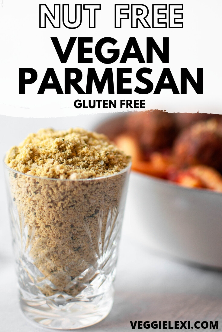 Easy and delicious nut free Vegan Parmesan! Allergen friendly, gluten free, and absolutely perfect for sprinkling on everything! #veggielexi #vegancheese #veganrecipes #nutfreerecipes - by Veggie Lexi