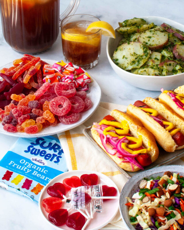 A Better For You Vegan BBQ spread featuring vegan candy. #veggielexi #ad